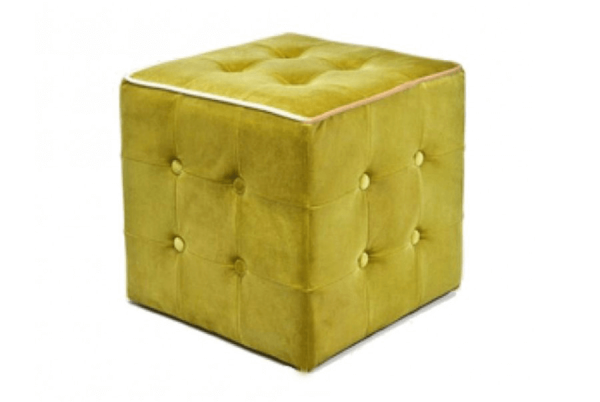 """Velvet Pop"" Polsterhocker - gelb/ grün"